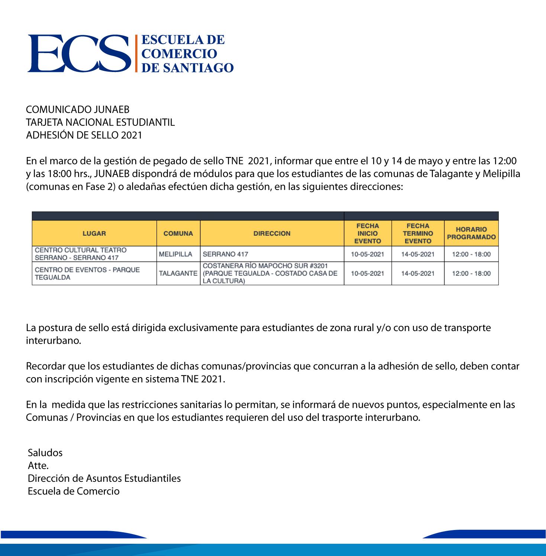 Escuela de Comercio - Comunicado TNE JUNAEB Adhesión de sello 2021